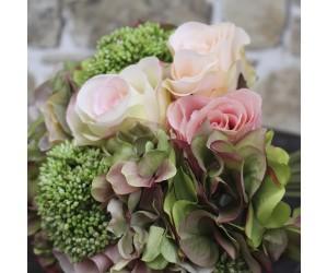 Blomsterbuket creme/rosa 26 cm - Kunstig